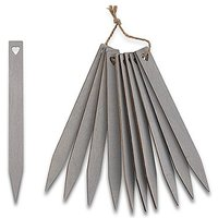 Grey Wooden Stakes with Open Heart - Silver