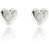 Silver Heart Stud Earrings with Rhinestone Crystal