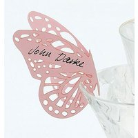Delicate Lasercut Butterfly Wedding Place Card For Glasses Pack - Rose Pink