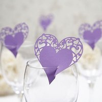 Lasercut Heart Place Cards for Glasses Pack - Burgundy