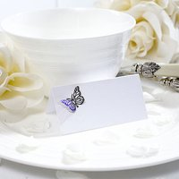 Lasercut Butterfly Decorated Place Card Pack - Purple