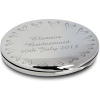 Personalised Compact Mirror With Small Heart Design
