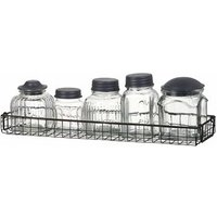 Set of 5 Vintage Glass Jars With Black Wire Rack