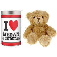 Personalised I Love Heart Teddy in a Tin