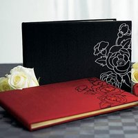 Silhouettes In Bloom Traditional Guest Book - Jet Black With White