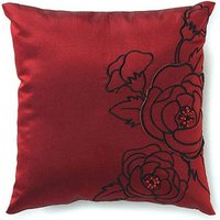 Silhouettes In Bloom Square Ring Cushion - Jet Black With White