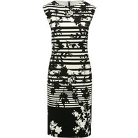 Women's Ladies sleeveless black and cream stripe pattern floral print knee length zip fastening shif