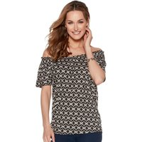 Women's Ladies short sleeve soft jersey geo print elasticated frill neckline casual summer gypsy top