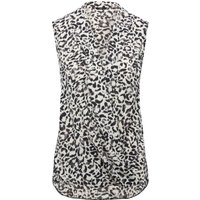 Women's Ladies monochrome sleeveless pull on v neck animal print wrap over style smart top