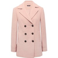 Women's Ladies plain wool blend long sleeve double breast pink winter pea coat