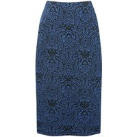 Women's Ladies soft stretch high waisted knee length textured paisley Jacquard pencil skirt