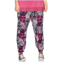 Women's Ladies plus size jersey elasticated tie waist bright floral print patchwork jogger trousers