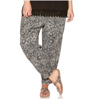 Ladies plus pull on paisley print tie front tapered leg full length trousers  - Black