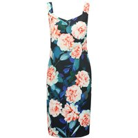 Women's Ladies knee length sleeveless diamond v neck Floral print satin shift dress