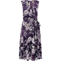 Women's Ladies boutique floral print ruffle v neck tie waist belted floaty fit and flare dress