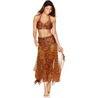 Women's Ladies swimwear butterfly tile print sheer mesh two in one strapless swim skirt beach dress
