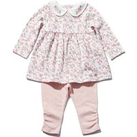 Newborn girls cotton long sleeve floral print peter pan collar smock top and rouched leggings set  -