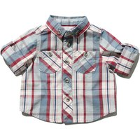 Baby boy 100% cotton blue and red check pattern roll up long sleeve button down shirt  - Blue