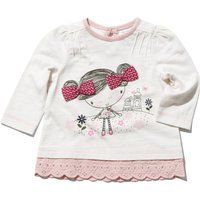 Baby girl white cotton rich long sleeve girl print bow applique broderie anglaise scallop hem top  -