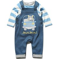 Newborn boy cotton rich blue chambray car applique slogan dungarees and blue stripe top set  - Blue