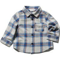 Baby boy grey 100% brushed cotton long sleeve blue check pattern chest pocket button down shirt  - G