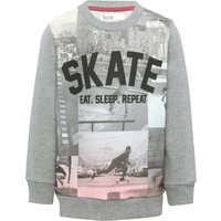 Boys cotton rich grey marl long sleeve skate graphic slogan print crew neck sweater  - Grey Marl