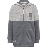 Boys cotton blend grey marl long sleeve zip through NYC print textured two tone hooded sweater  - Gr