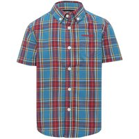 Firetrap boys 100% cotton short sleeve check pattern embroidered logo chest pocket shirt  - Blue