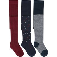 Girls cotton rich multi-coloured cable knit stripe and star design knitted tights three pack  - Navy