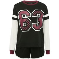 Teen girl 100% cotton long sleeve sport number 63 colour block design sleeve pyjama set  - Multicolo