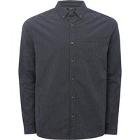 Men's Mini Check Long Sleeve Cotton Shirt Button Down Collar  - Dark Blue