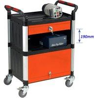 Barton Storage Barton Storage WHTT3SS/CAB 3 Shelf Trolley With Drawer And Cabinet