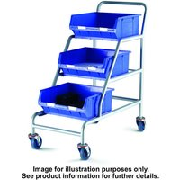 Barton Storage Topstore ACT/3XTC6B Unbraked Angled Container Trolley With 3 TC6 Blue Containers