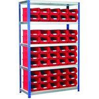 Machine Mart Xtra Barton Storage Eco-Rax TC Shelving Unit With 50 TC4 Red Containers