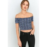 Pins & Needles Picnic Bardot Blue Floral Off-The-Shoulder Top, Blue