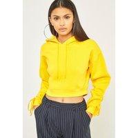 BDG Cropped Ruched Sleeve Hoodie, Dark Yellow