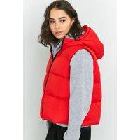 Light Before Dark Hooded Sleeveless Puffer Jacket, Red