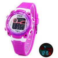 Polit 633 LED Kid Sports Watch Water Resistance Wristwatch with Day Date Alam Function Rubber Band