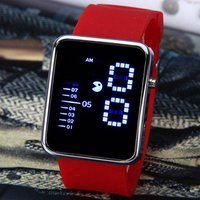 Waterproof Rubber Band LED Screen Watches with Blue Light Display Square Shaped Silver Crust - Pink