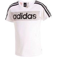 adidas Linear T-Shirt Childrens - White/Grey/ Black - Kids