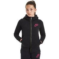 Nike Girls Modern Full Zip Hoody Junior - Black/Berry - Kids
