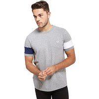 Fred Perry Blocked Panel T-Shirt - Grey Marl/White/Navy - Mens