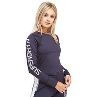 Superdry Speed Sport Crop Top Long Sleeve - Navy/White - Womens