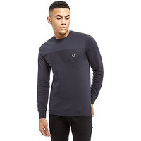 Fred Perry Long Sleeve Textured T-Shirt - Grey - Mens