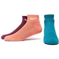 Nike 3 Pack Cushioned Quarter Socks - Peach/ Blue/ Purple - Womens