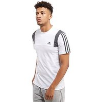 adidas 3 Stripe Essentials T-Shirt - White/Dark Grey Heather - Mens