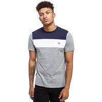 Fred Perry Colour Block Panel T-Shirt - Grey/Navy and White - Mens