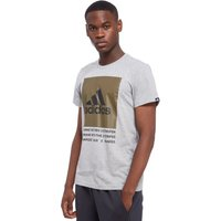 adidas 3-Stripes Box T-shirt - Only at JD - Mid Grey Heather - Mens, Mid Grey Heather