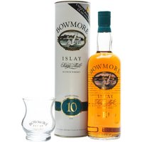 75cl / 40% / Distillery Bottling - An old Bowmore gift set containing a bottle of their 10 year old and a Bowmore branded tumbler.  We estimate this pack dates from the 1980s.