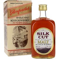 75cl / 46% / Distillery Bottling - This old bottling of Glenfarclas 15 Year Old was produced for Silk Cut. This is presented in distillery's classic rectangular-shaped bottle of the 1980s.